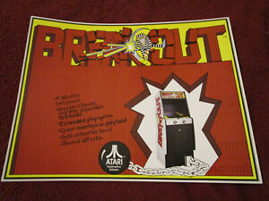 Atari Breakout video game 1976 double-sided flyer / ad from distribution company