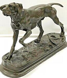 Antique Rare 1900s Bronze Dog Sculpture Signed Moigniez France Statue