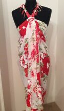 White With Burnt Orange, Green And White Flowers Beach Wrap/Sarong