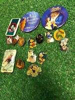 17 Vintage Mickey Mouse Disney Goofy Pin Button Beauty & The Beast Bambi