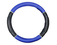 Black And Blue Massage Grip Steering Wheel Cover Car Auto Suv