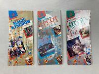 LOT OF 3 Vintage 1991 Disney World Guidemaps Magic Kingdom, EPCOT, MGM Maps
