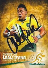 ✺Signed✺ 2016 WALLABIES Rugby Union Card CHRISTIAN LEALI'IFANO