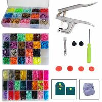 Plastic Snaps Buttons T3 T5 Press Poppers Resin Snap Fasteners + 1 Pliers Tool