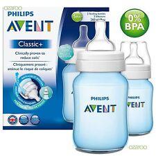 2 x Philips Avent Classic+ 1m+ Baby Feeding Bottles 260ml / 9oz Twin Set - Blue