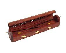 Handmade Wooden Brown Incense Stick Holder Burner Storage Coffin Box Ash Catcher