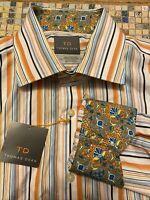 THOMAS DEAN NWT Mens XL Flip Cuff Multi-color Stripe Long Sleeve Button Down