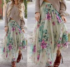 Retro Women Chiffon Floral Print Pleated Long Maxi Dress Elastic Waist Skirt M