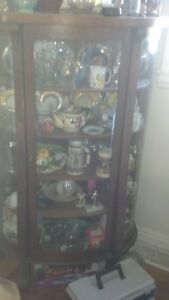 Antique Quartersawn Oak with Curved Glass China Cabinet
