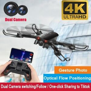FPV Foldable RC Quadcopter Drones with 4K HD WIFI Dual Camera Follow Me App