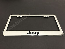 1x JEEP STAINLESS STEEL LICENSE PLATE FRAME + Screw Caps