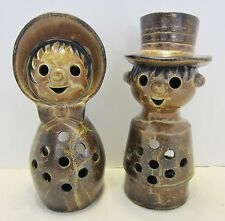 PWF Japan Brown Drip Boy & Girl Ceramic Candle Holders Lanterns Vintage