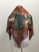 """RALPH LAUREN SILK CHIFFON SQUARE RED GREEN MULTI COLOR FLORAL BUILDING 34"""" SCARF"""