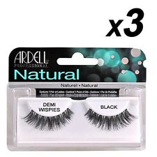 3 x Ardell Naturals Eyelashes False Faux Lash Cosmetics Demi Wispies Black