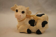 Baby Cow Figurine Laying Black & White Country Pink Nose Collectible Calf Barn