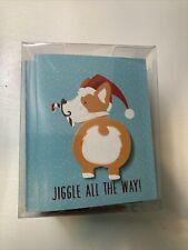 Corgi Christmas HOLIDAY Cards BOX of 15 w/ stickers JIGGLE ALL THE WAY