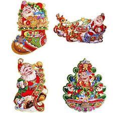 "Christmas Hanging 3D Party Decorations 4-pk Stocking Reindeer & Sleigh Santa 17"""