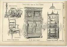 1904 Saleroom Sketches Leather Pitcher Mahogany Chest Of Drawers