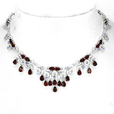 FASCINATING GENUINE MOZAMBIQUE GARNET,BLUE TANZANITE,W. CZ 925 SILVER NECKLACE