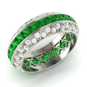 3.50 Carat Real Diamond Green Emerald Band For Her 14K White Gold Size 5 6 7 8 9