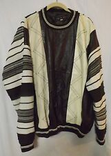 VTG Men's BAGAZIO 100% LEATHER Front Pullover Sweater Dk Brown Cream Lined Sz L