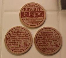 (Lot of 3) DUBLIN DR PEPPER / BOYCOTT DR PEPPER Orig 2012 Wooden Nickels Texas