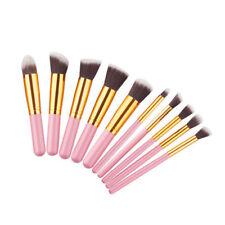 10pcs Kabuki Make up Brush Set Style Professional Foundation Blusher Face Powder Pink/gold