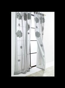 "ONE 96"" Anthropologie Georgina Curtain Panel Gray Cotton Linen Floral Rosette"