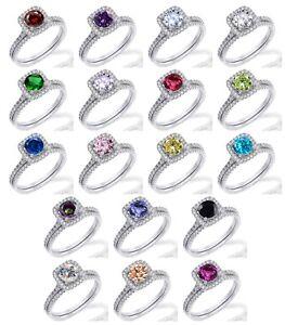 Round Cut Birthstone Engagement Wedding CZ Halo Genuine Sterling Silver Ring Set