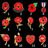 Poppy Military Pin Badge Remembrance Day Enamel Lapel Brooch Flower Brooches
