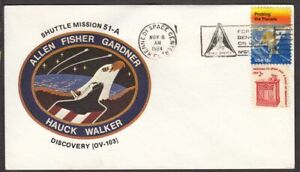 1984 Shuttle Discovery STS-51-A cover, mission patch cachet Allen Fisher Gardner