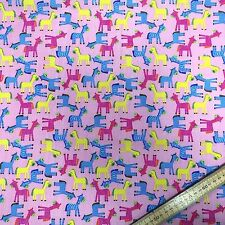 Childrens Horses Zebras on a variety of coloured back grounds Polycotton Fabric