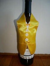 Wine Bottle Cover Yellow Jacket and Tie NEW Handmade