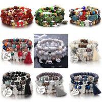 Bohemian Jewelry Women Multilayer Natural Stone Bead Tassel Chain Bracelet Gift