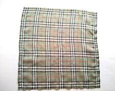 Burberrys Bandana Pocket Square Handkerchief Neckerchief Nova Check Grey Green
