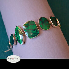 *Vintage AMAZING 80's PAUA with Emerald Resin BRACELET Sterling Silver