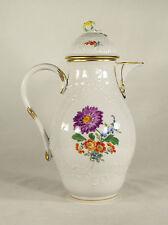 Meissen Hand Painted  Gilded Flowers Porcelain Coffee pot Teapot