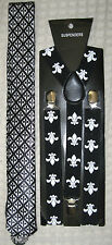 "FLEUR DE LIS NEW ORLEANS SAINTS NeckTie & 1"" Adjustable Y-Back Suspenders-New2"