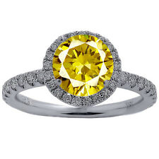 3.01 CARAT ROUND CANARY & DIAMOND HALO ENGAGEMENT RING 18K SOLID WHITE GOLD