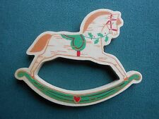 "HALLMARK 1989 ""WOOD"" Rocking Horse Refrigerator MAGNET with Sticker- VGC"