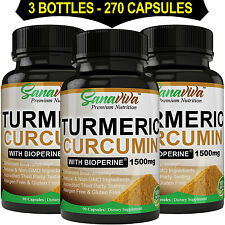 Turmeric Curcumin with BioPerine, 1500mg in Two Daily Capsules 100% pure