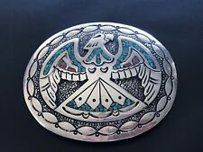 Sterling Silver Native American Turquoise Coral Chip Inlay Nezzie Belt Buckle 52