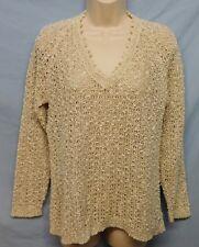 Sweater Large Ivory Beige Irish Linen Hand Loomed V Neck Pullover Pallas