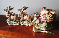 Fitz & Floyd Christmas Set Wreath Santa Sleigh Tureen & 2 Reindeer Candle