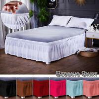Elastic Dust Ruffle Split Corner Bed Skirt Wrap Around Drop Twin Full Queen King
