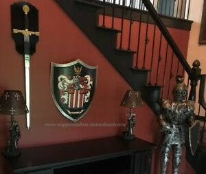 Medieval knight shield, Custom Family Coat of Arms metal knight shield SCA