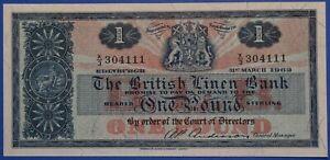 £1 Note One Pound Scotland British Linen Bank Uncirculated 1937 Scottish Bank