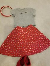 AMERICAN GIRL PLEASANT COMPANY Doll Red Floral Skirt Headband shoes shirt
