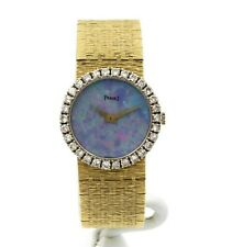 VINTAGE 18K YELLOW GOLD PIAGET 1.0 CTW DIAMOND BLACK OPAL DIAL WRIST WATCH #4406