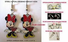 Red Minnie Earrings OR Necklace *OPTIONS* Hypoallergenic OR Clip On